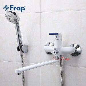 Image 2 - Frap מודרני סגנון אמבטיה ברז קיר רכוב קר וחם מים מיקסר ברז רב צבע ידית כיסוי אפשרויות 35cm אף ארוך F2234