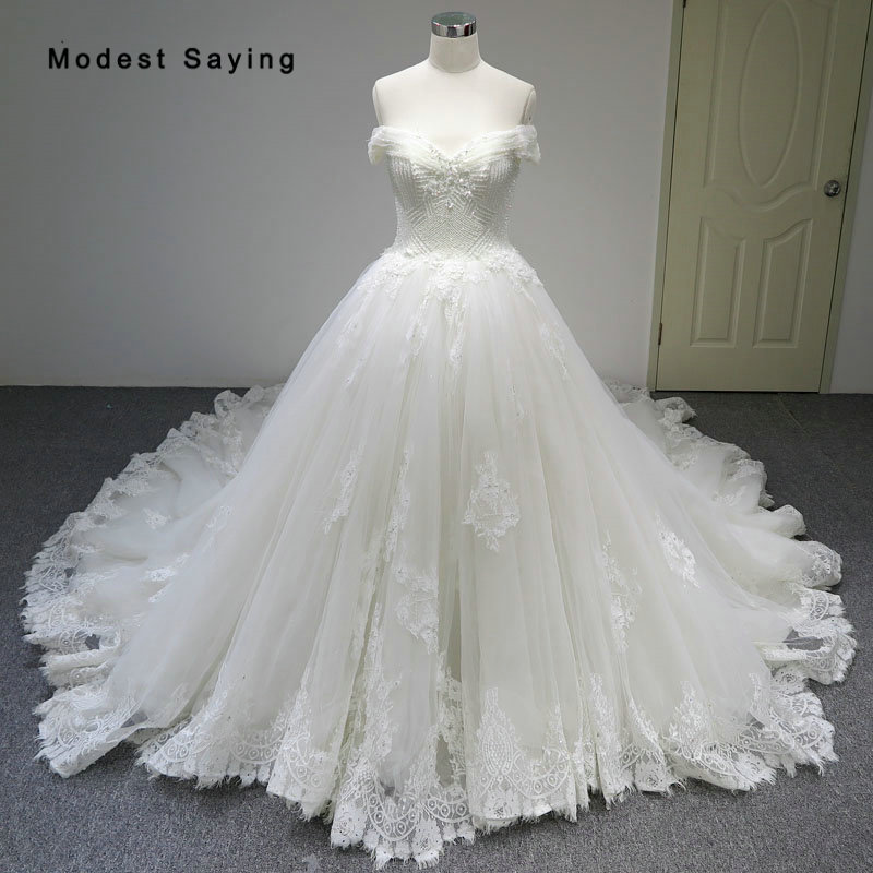 Crystal Bodice Wedding Gown: Luxury Ivory Ball Gown Sweetheart Lace Wedding Dress 2018