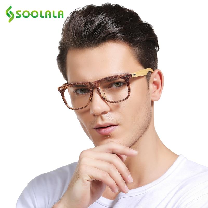 f4c3841cc8c SOOLALA Oversized Wood Bamboo Frame Mens Reading Glasses Full Rimmed Ladies  Presbyopia Reading Glass Eyeglasses +0.5 1.5 to 4.0