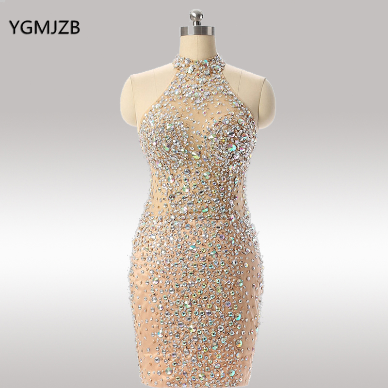 Luxury Short Prom Dresses 2019 High Neck Full Beading Crystal Backless Sleeveless Mini Sexy Homecoming Party Cocktail Dresses(China)