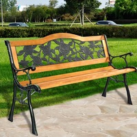 Patio Benches Garden Bench Park Yard Outdoor Furniture Cast aluminum Frame Porch New arrival Wood Chair Free Shipping