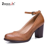 Donna In 2016 Spring New Style Retro Brushed Cow Leather High Heel Shoes Classic Round Toe