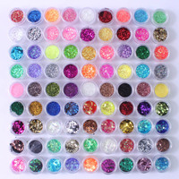 90 Pots Nail Glitter Poudre Poussière Glitter Pour UV GEL Poudre Acrylique Décoration Conseils