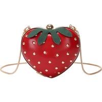 Summer Women Mini Shoulder Bags Cute Small Messenger Bag Strawberry Sweet Shape Fashion Rivet Adornment Yellow Crossbody Bags
