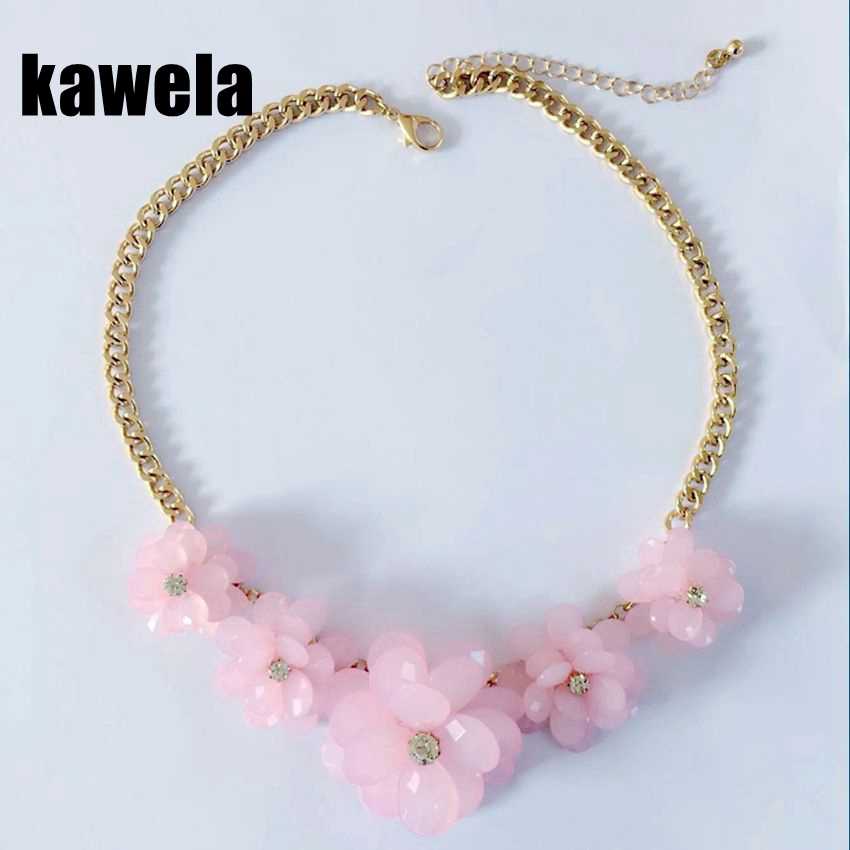 Free Shipping Pink Crystal Flower Necklace, Hand making flower necklace