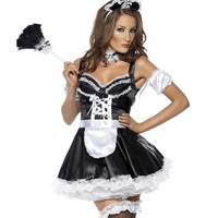 2016 New Uniform Sexy Lingerie Cosplay Lace Trim French Maid Costume Servant Cosplay Sexy Women Dress