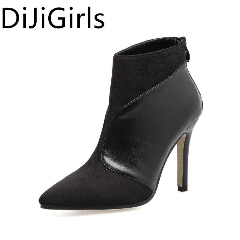 ac88818d Mujer Aguja Moda Punta Negro Zapatos Pu Botines De Partido Suede Botas  Costura Tamaño Gran Alto Tacón ...