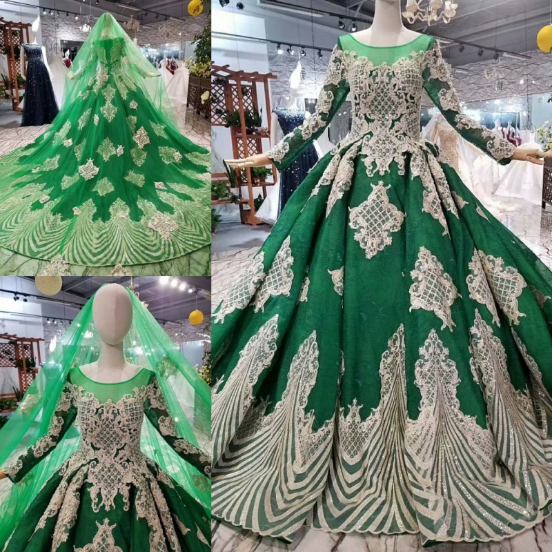 Dark Green Long Sleeves Muslim Vintage Wedding Dresses 2018 Real Photos Elegant Lace up Colorful Princess Beautiful Bridal Gowns