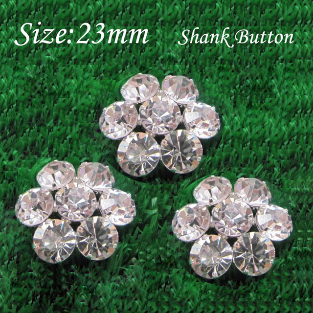 23MM Sparkly Flower sewing Rhinestone metal shank button For DIY Bow  Centers 30pcs RMB042 d588432d3fed
