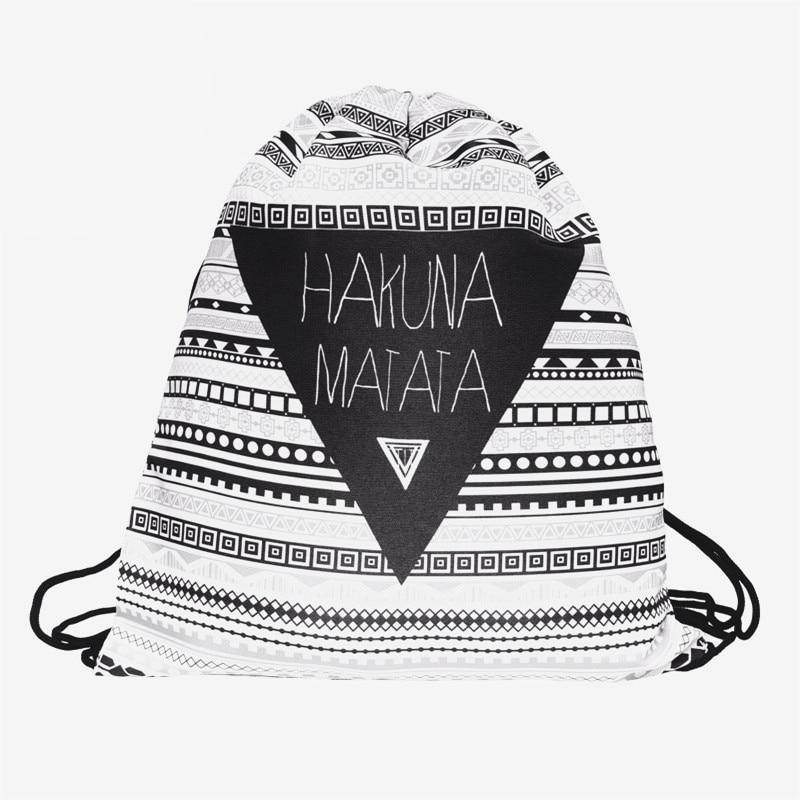 Zohra 3D Printing Fashion New Backpack women Geometric triangle pattern Drawstring bag Travel bag mochila feminina backpacks