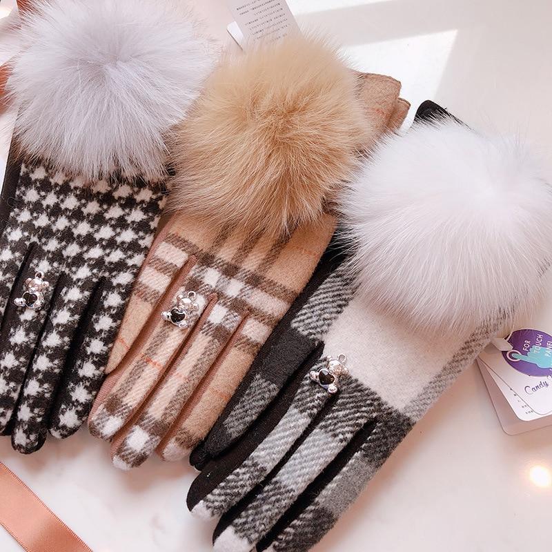 Apparel Accessories Original Plaid Plus Velvet Gloves Japanese Plaid Fox Fur Ball Points Refer To Bear Gloves Female Students Riding Plus Velvet