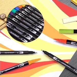 Image 3 - 듀얼 팁 브러쉬 펜 60 독특한 색상 레터링 펜 마커 브러쉬 Fineliner 팁 색칠 예술에 완벽한 Doodling Hand Lettering