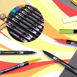 Image 3 - Canetas de escova de ponta dupla 60 cores originais marcadores de caneta de rotulação escova fineliner dicas perfeitas para colorir arte doodling mão rotulação