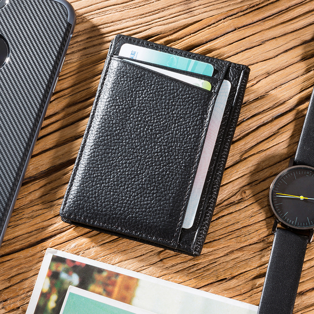 NewBring Genuine Leather Wallet Credit Card & ID Holders Black Business Card Slim Wallet Case Bag man