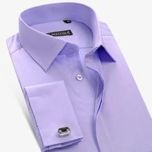 Shirt Hidden-Buttons Cuff-Dress Long-Sleeve French Solid Twill Banquet Standard-Fit Pocket-Less-Design