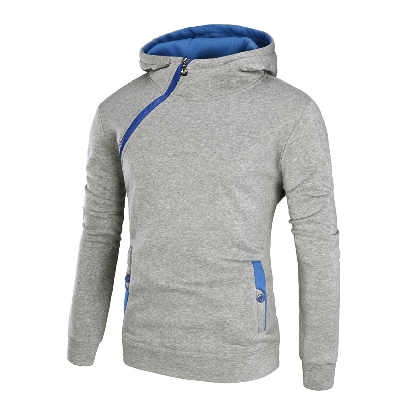 Irregular Zipper Hooded Sweatshirt Men Sweat Homme 2017 Autumn Winter Casual Pocket Homens Moletom Cotton Slim Sportswear Men