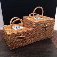 Vintage Cosmetic Jewelry Box Makeup Organizer Rattan Boxes With Lids Tea Tin Rattan Storage Box Bins