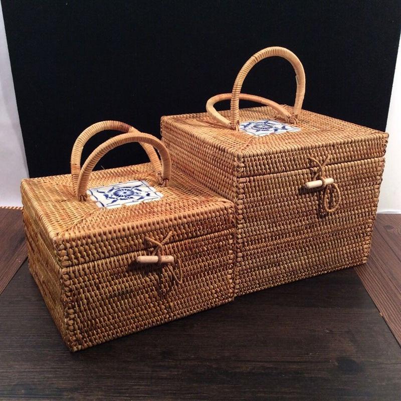 козметична кутия за бижута, грим организатор ратан кутии с капаци чай калай ратан съхранение кутия контейнери sundries organizador голям  t