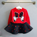 free shipping 2016 New Fashion Girls Clothing Minnie T shirt + Skirt 2pcs/set dot bow point suit long-sleeved autumn kids set