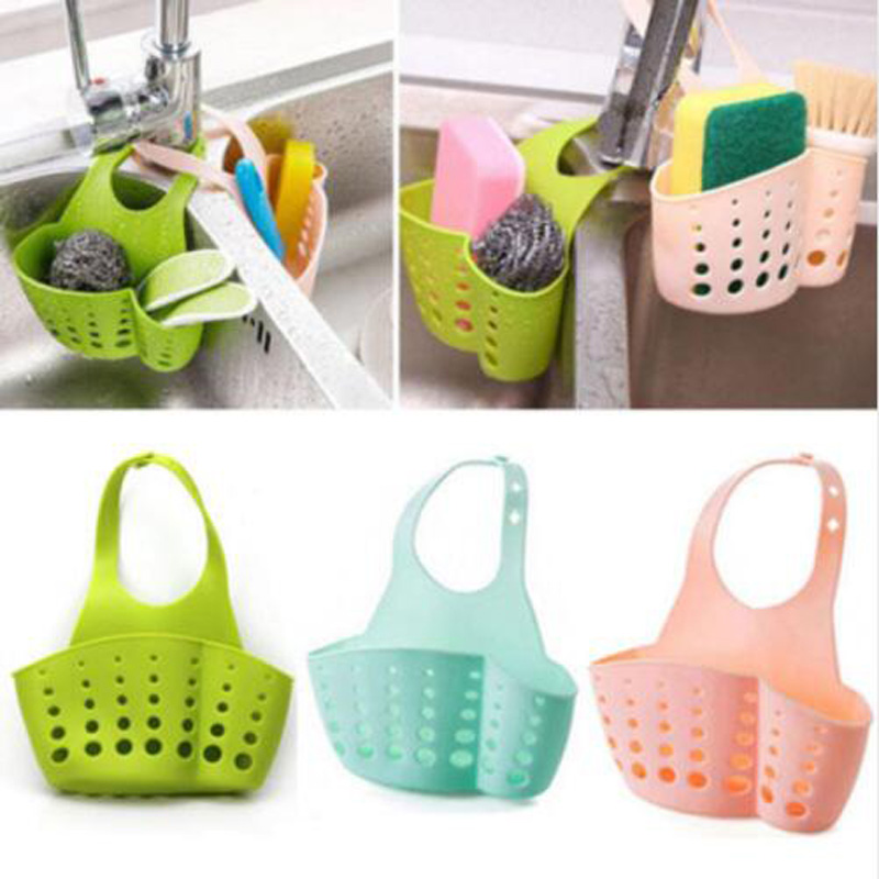 Sponge Dish Cloths Rack Shelves Portable Home Kitchen Hanging Basket Fruit Vegetable Sink
