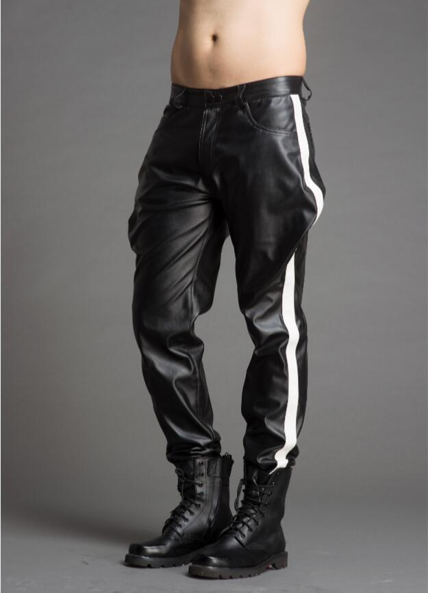 New men's clothing Hair Stylist leather pants  1
