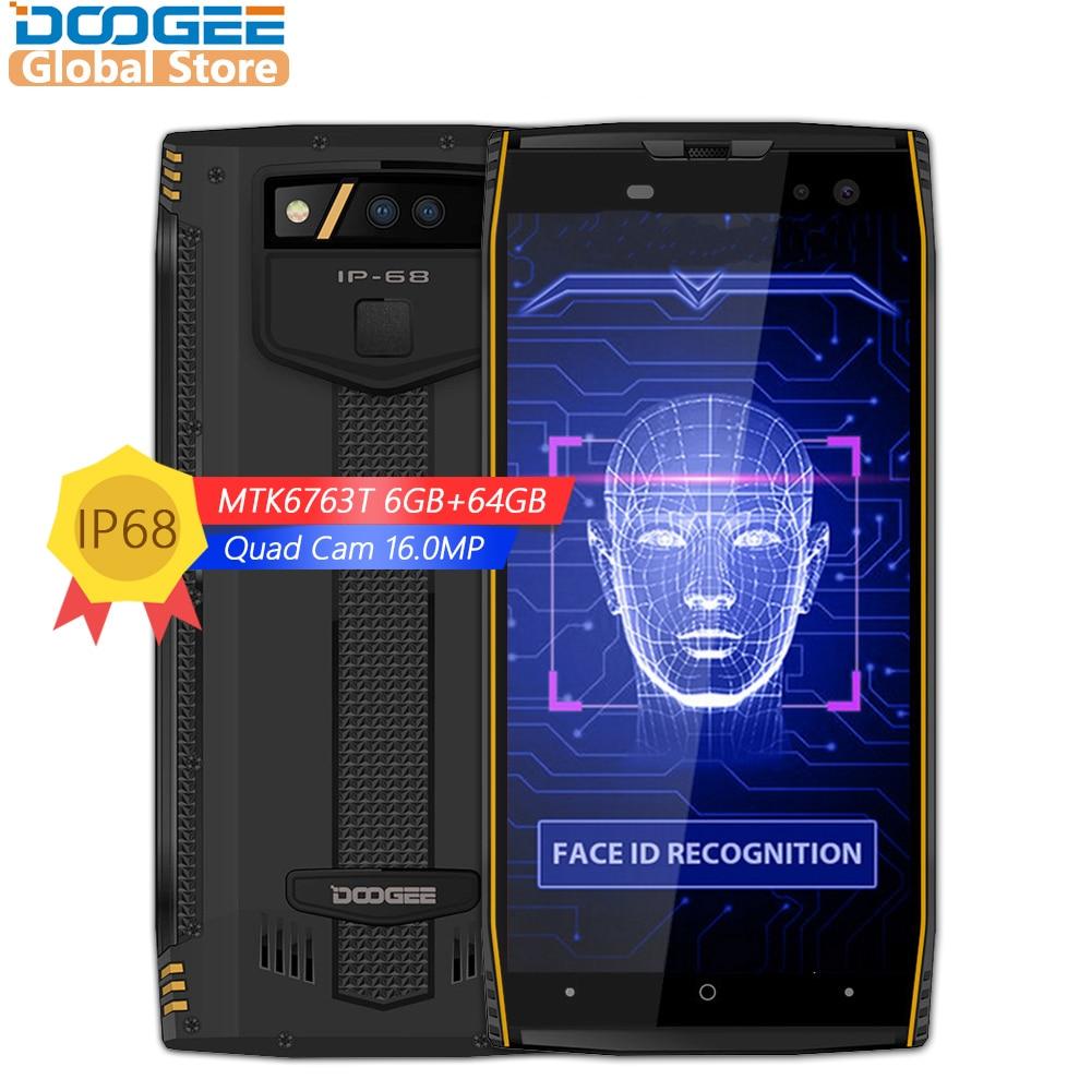 DOOGEE S50 IP68 Водонепроницаемый 5,7 дюйма MTK6763T 2,5 ГГц Восьмиядерный 6 ГБ 64 ГБ Quad камер 16.0MP смартфон 5180 мАч Быстрая зарядка