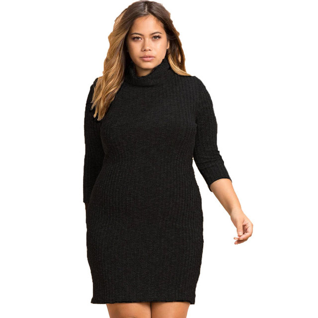 Big size 6XL Fat MM 2018 Spring Women Dress Loose turtleneck patchwork  knitted dresses plus size women clothing 6xl dress 43f1945884ff