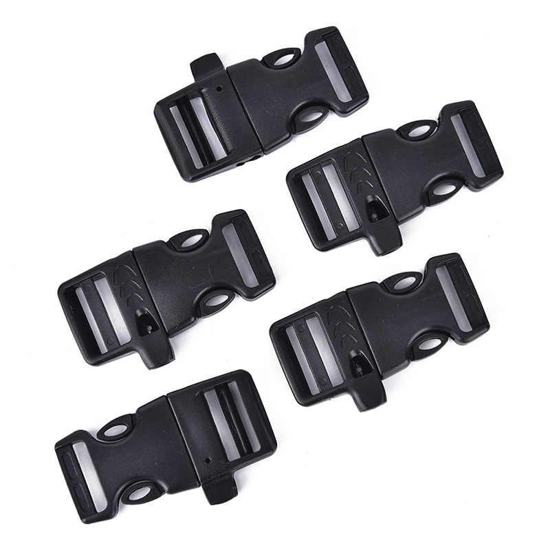 Liny awaryjne wyprofilowane gwizdek klamry plastikowe zakrzywione boczne klamry zwalniające dla lina bransoletka/plecak 5 sztuk