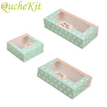 10pcs Paper Gift Box With Window Wedding Kraft Paper Cake Box Food Packaging Box For Candy Cookie Cupcake Christmas Party Supply 10pcs lot cake candy hand strap butterfly decorative gifts paper foldable box for apple candy cookie party gifts packing box