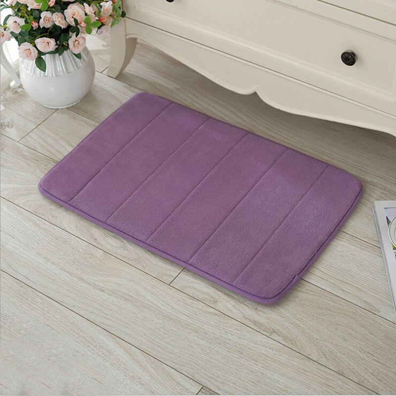 Coral Velvet Carpet Stripe Absorbent Slip-resistant Pad Bathroom Shower Bath Mat