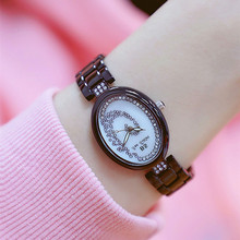New Hot Sale Oval-shaped Rhinestone Dial Black White Strap Ladies Watch Gift Fashion & Casual  Chronograph