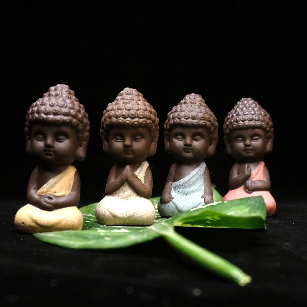 Küçük Buda heykeli keşiş heykelcik tathagata Hindistan Yoga Mandala çay hayvan mor seramik el sanatları dekoratif seramik süsler