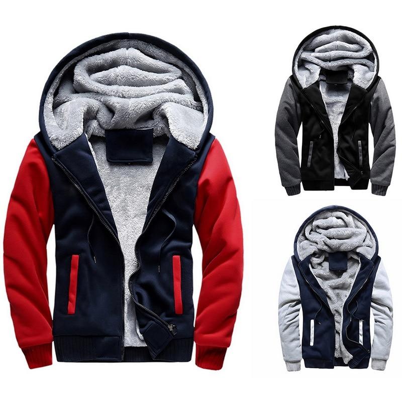 HEFLASHOR  Men Hoodies Sweatshirts Winter Warm Fleece Plus Size Hoodies Jacket Parkas Casual Streetwear Cardigan Coat Teenager