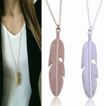 Retro Personality Silver Gold Color Leaves Feather Pendant Necklace For Men Women Fashion Jewelry Long Chain Necklace gold feather pendant chain necklace