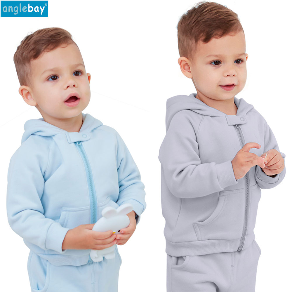 Anglebay Baby Sweatshirt Set 100% Cotton Baby Boys Girls Hooded Sweatshirt Zip Set Solid Long Sleeve Two Piece Set Top and Pants