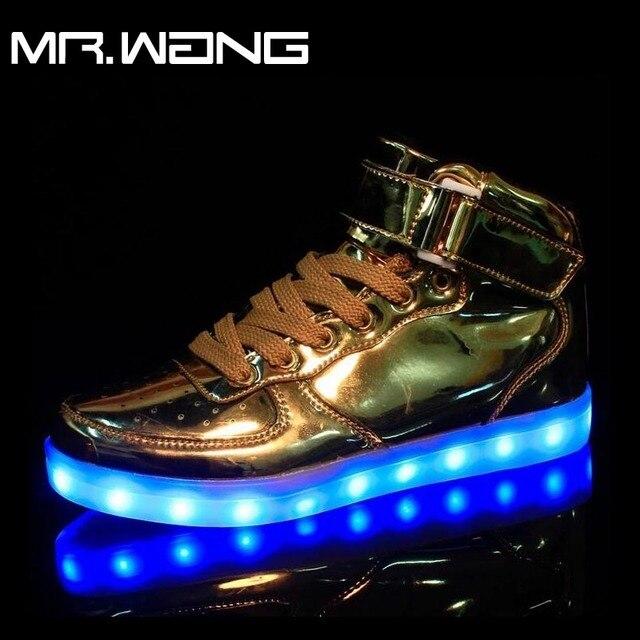 Марка Мужчины фонарь высокого Верха Обуви Золото Sliver7 Цвета светящиеся обувь СВЕТОДИОДНЫЕ светящиеся мужчины USB аккумуляторная свет DD-62