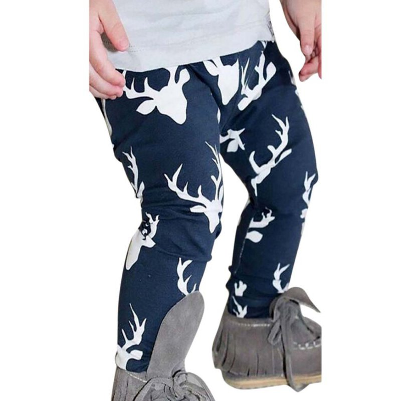 Toddler Kids Baby Boys Girls Deer Pattern Bottom Leggings Harem Pants Trousers For Children H3