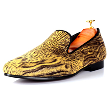 Harpelunde Designer Men Shoes Leopard Printed Footwear Yellow Casual Shoes Free Drop Shipping Size 7-14