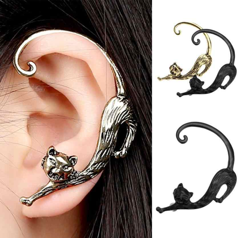 Hot Earings Fashion Jewelry  New Fashion Gothic Punk Temptation Cat Bite Ear Cuff Wrap Earring Trendy Style Unique Designed Cute