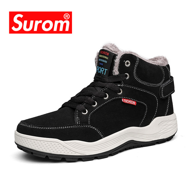 SUROM Flock Winter Ankle Boots For Male Botas Plush Men Snow Boots Warm Outdoor Shoes With Fur Fashion Plus Big Size 46 47 48