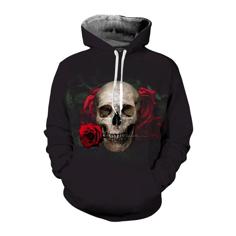 EUR Size Rose Skull Hoodies 3d Sweatshirt Men Women Floral Print Sweat Homme Sudaderas Hombres Tracksuit Pullover