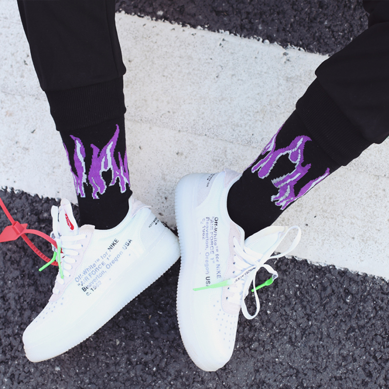 New Original Design Harajuku Style Purple&yellow Unisex Flame Socks Street Shot Hip Hop Punk Men Skateboard Cotton Socks To Win Warm Praise From Customers Underwear & Sleepwears