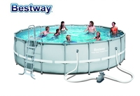 56427 Bestway 549x132cm Power Steel Frame Pool Set 18'*52 Round Frame Swimming Pool+Filter,Ladder,Mat,Cover Above Ground Pool