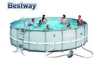 56427 Bestway 549x132 см Мощность Сталь Рамка бассейн 18' * 52 Круглый Рамка Бассейны + фильтр, лестница, Коврик, над землей бассейн
