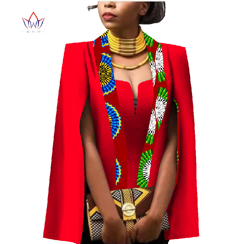 African Women Fashion: African Women Clothing Full Sleeve Cape Coat Dress Suit