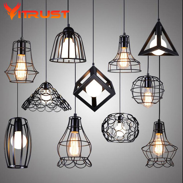 Vintage Iron Pendant Lamp Creative Hanging Light Fixtures Pyramid Metal Cage With Led