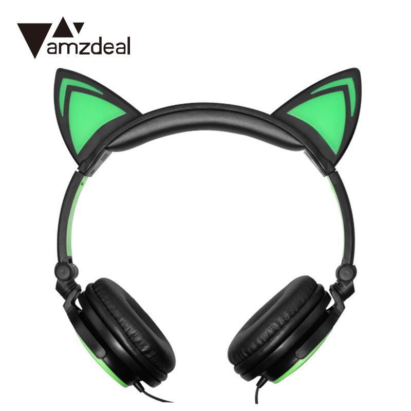 amzdeal Cat Ears 3.5mm Wired Foldable Glowing Light Up Headband Stereo Headphone Headset Earphone High Quality Children Gift