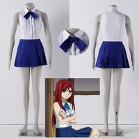 Athemis 2016 New Fairy Tail Erza Scarlet Cosplay Costumes Sexy Girls Mini Skirt Pleated Dress Anime