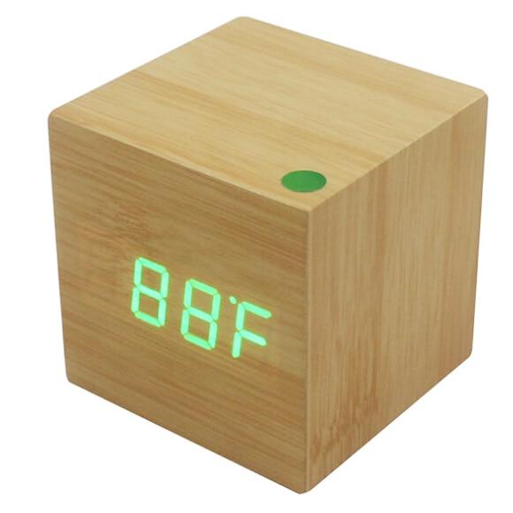 hghowood cube led alarm control digital desk clock wooden style room temperature bamboo wood - Desk Clocks