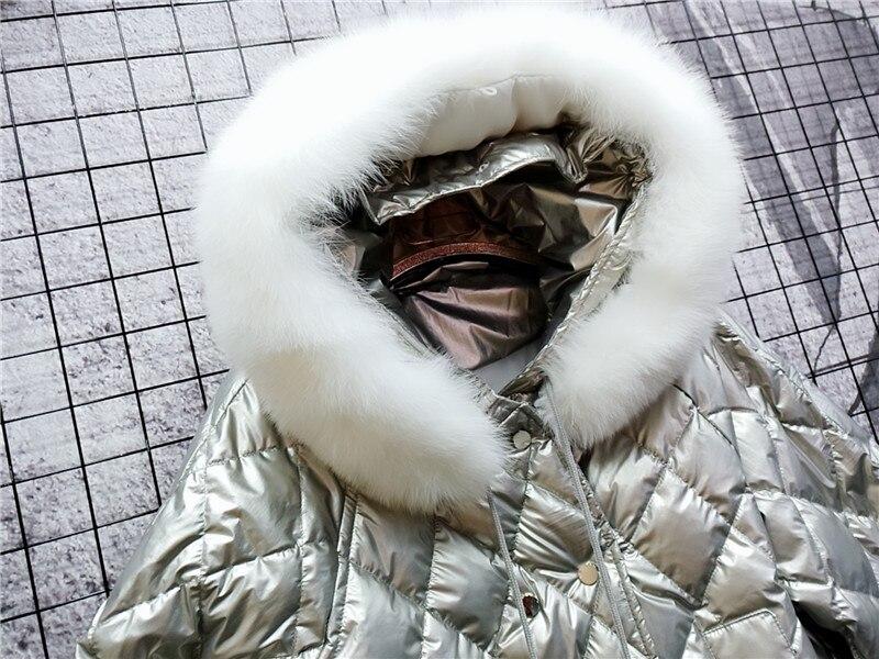 Réel Chaqueta Manteaux Blanc 2018 Chapeau Coréenne Capuchon Fourrure À Duvet Mujer Silver Plus black La De Renard Femmes Avec Vêtements D'hiver Taille Veste Canard 90 Parka rqwfrxUEYR